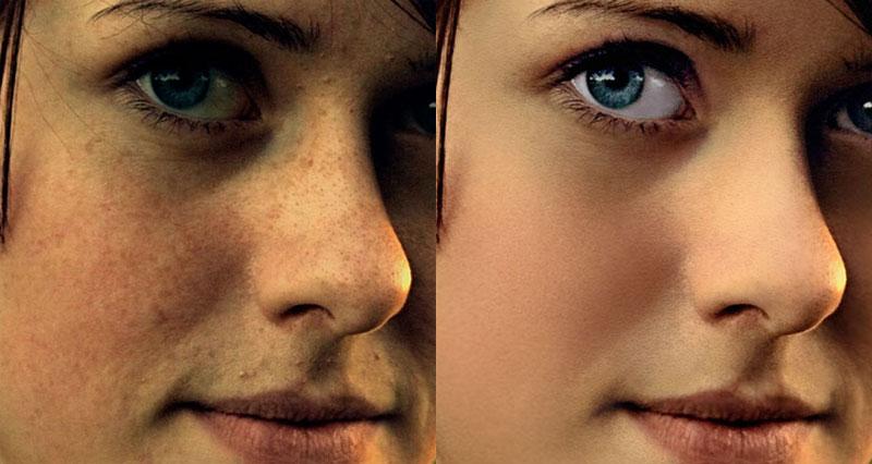 пример ретуши лица