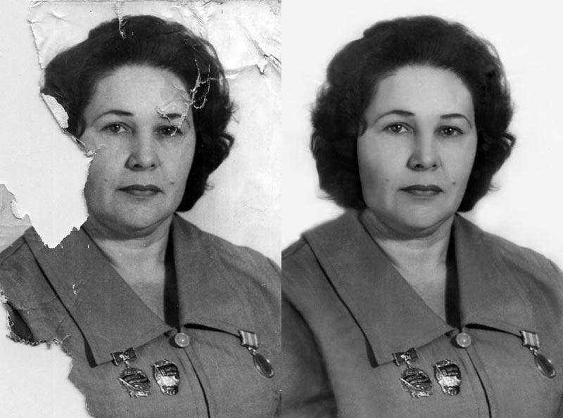 реставрация фотографии с утраченными фрагментами