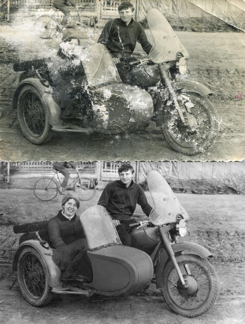 реставрация фотографии с отрисовкой утраченных фрагментов