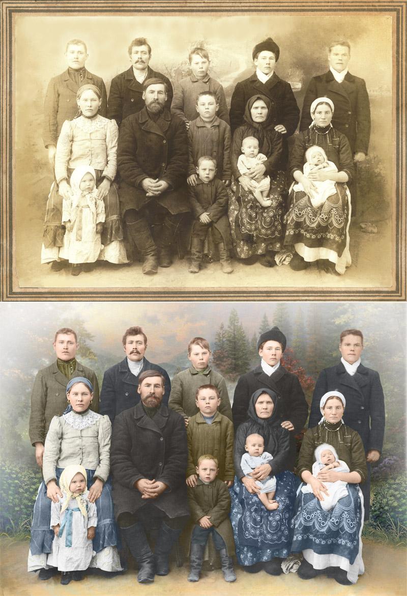 пример реставрации и раскрашивания фотографии