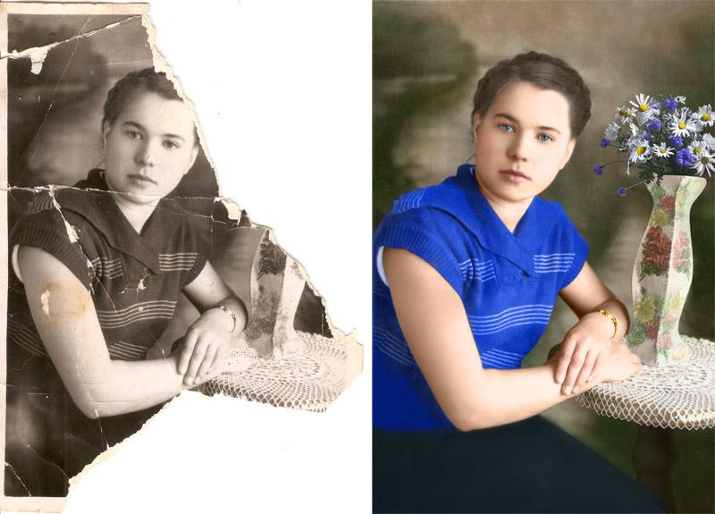 сложная реставрация старой фотографии